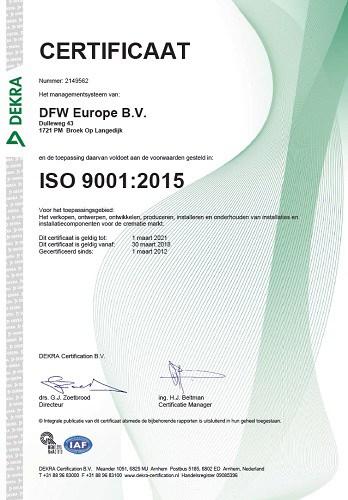 Certificaat ISO 9001 2015