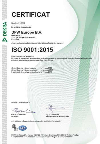 Certificat ISO 9001 2015